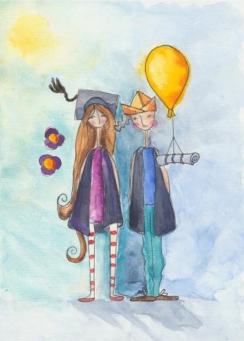 #WorldWatercolorGroup - Watercolour Painting By Rita Drysdall - graduation - #doodlewash