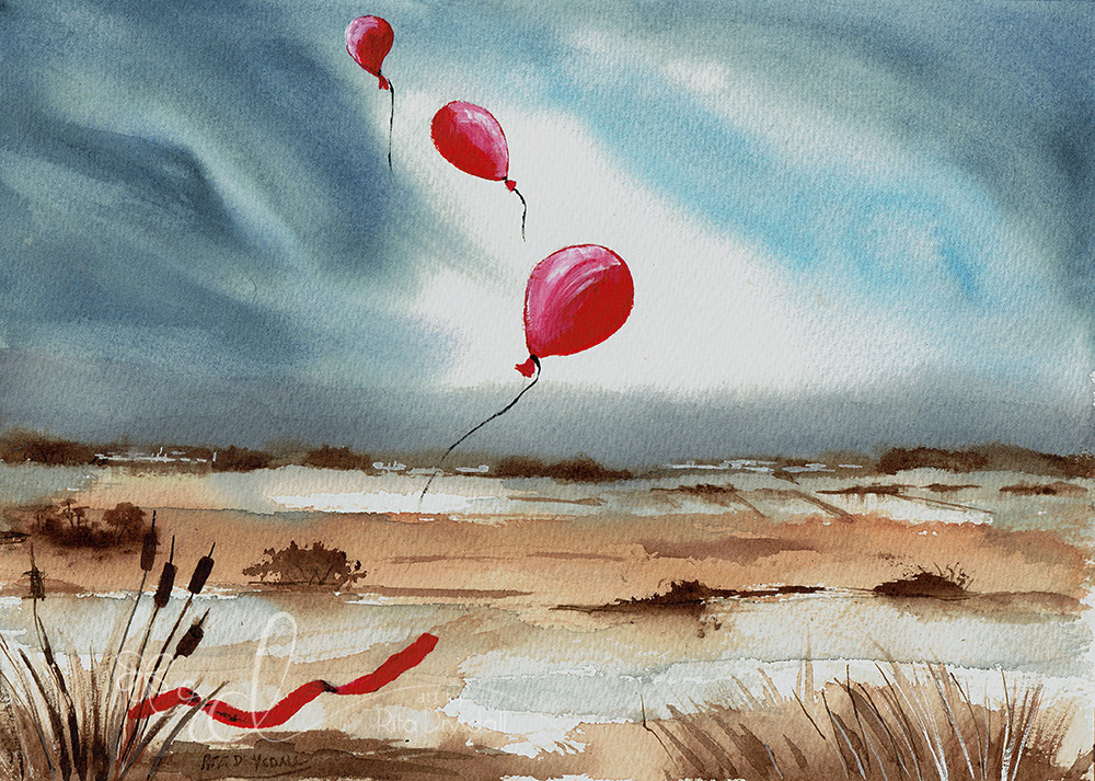 #WorldWatercolorGroup - Watercolour Painting By Rita Drysdall of red balloons - #doodlewash