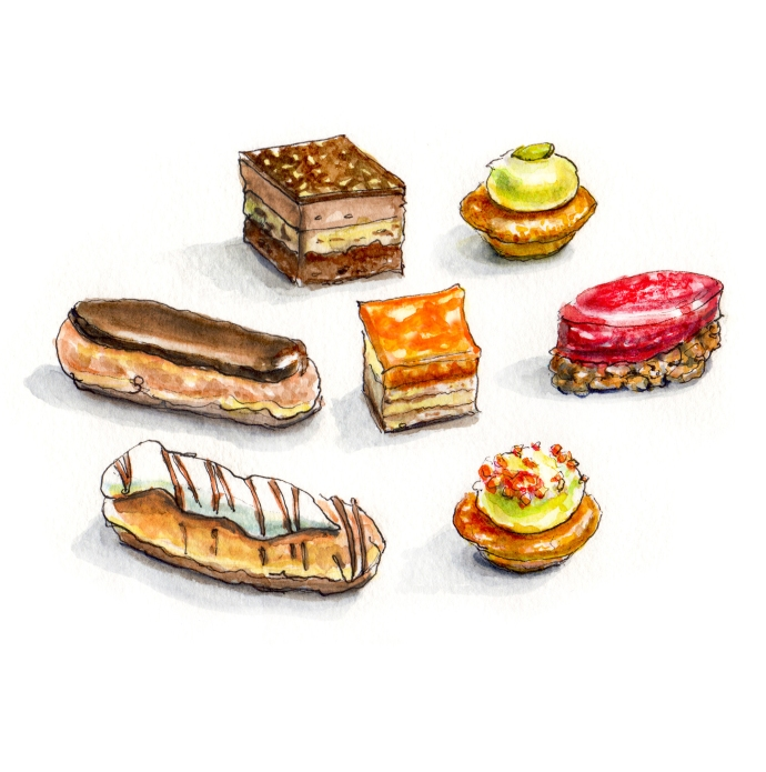 Day 10 - Little Bites - Petit Fours On White Background Watercolor - #doodlewash