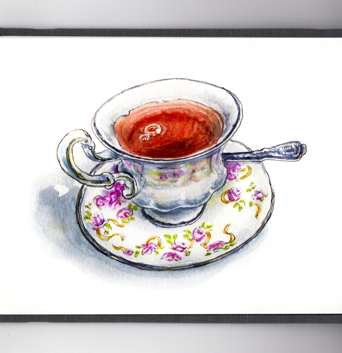 Day 13 - #WorldWatercolorGroup - A Spot of Tea English Teacup Watercolor - #doodlewash