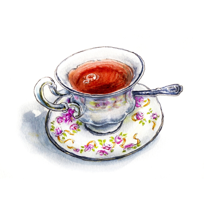 Day 13 - #WorldWatercolorGroup - A Spot of Tea - cup of tea and saucer watercolour - #doodlewash