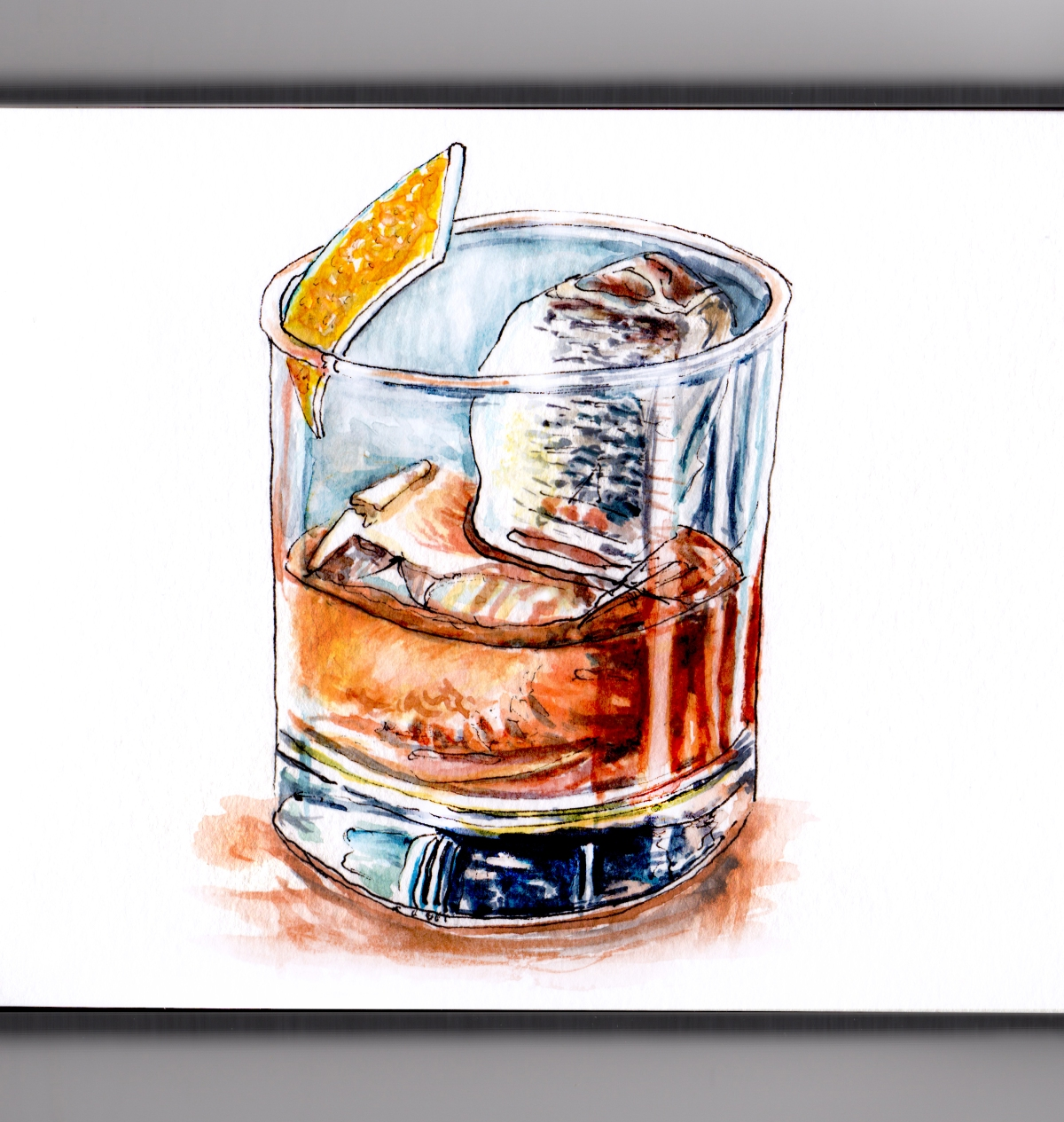 Day 30 - #WorldWatercolorGroup - Climax - Whiskey On The Rocks - #doodlewash