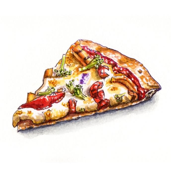 #WorldWatercolorGroup - Midnight Snacks Veggie Slice of Vegetarian Pizza - #doodlewash