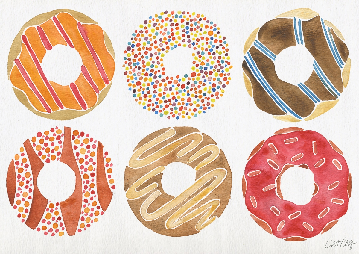 #WorldWatercolorGroup - Watercolor Art by Cat Coquillette - Doughnuts - #doodlewash