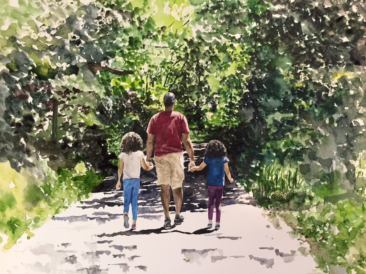 #WorldWatercolorGroup - Watercolor painting - In Daddy's Hands by Ellie Moniz - #doodlewash