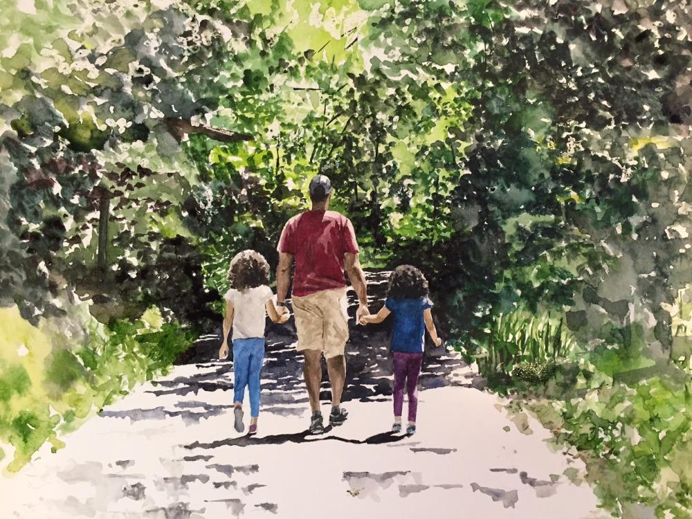 #WorldWatercolorGroup - Watercolor painting - In Daddy's Hands by Ellie Moniz - #doodlewash