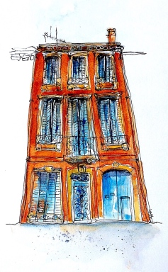 #WorldWatercolorGroup - Watercolor painting by Leonie Cheetham of building facade - #doodlewash