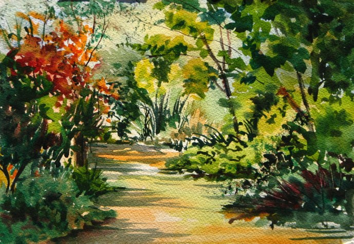 #WorldWatercolorGroup - Watercolor nature path by Leslie Rich - #doodlewash