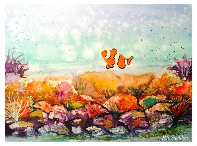 #WorldWatercolorGroup - Watercolor painting of clown fish by Rocelee F. Benedicto-Sheldon - #doodlewash