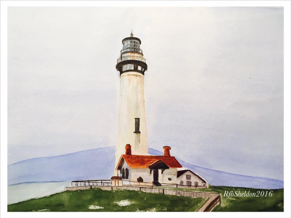 #WorldWatercolorGroup - Watercolor painting of lighthouse by Rocelee F. Benedicto-Sheldon - #doodlewash