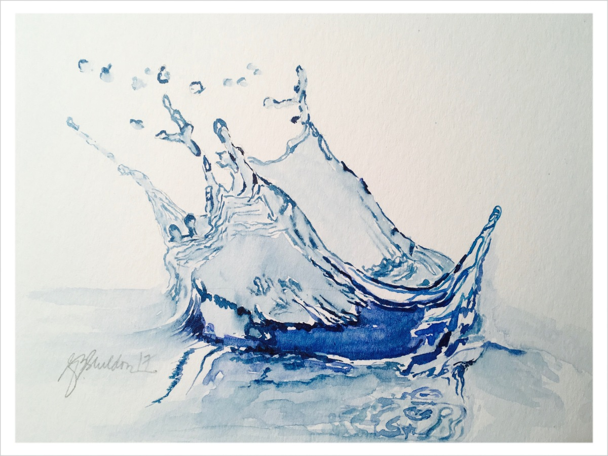 #WorldWatercolorGroup - Watercolor painting of water splash by Rocelee F. Benedicto-Sheldon - #doodlewash