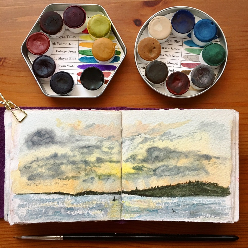 Anthesis Arts handcrafted watercolors Meadow palette, coastal palette paintings by jessica seacrest