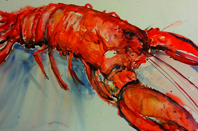 #WorldWatercolorGroup - Watercolor Painting by Lisa Argentieri - Lobster - #doodlewash