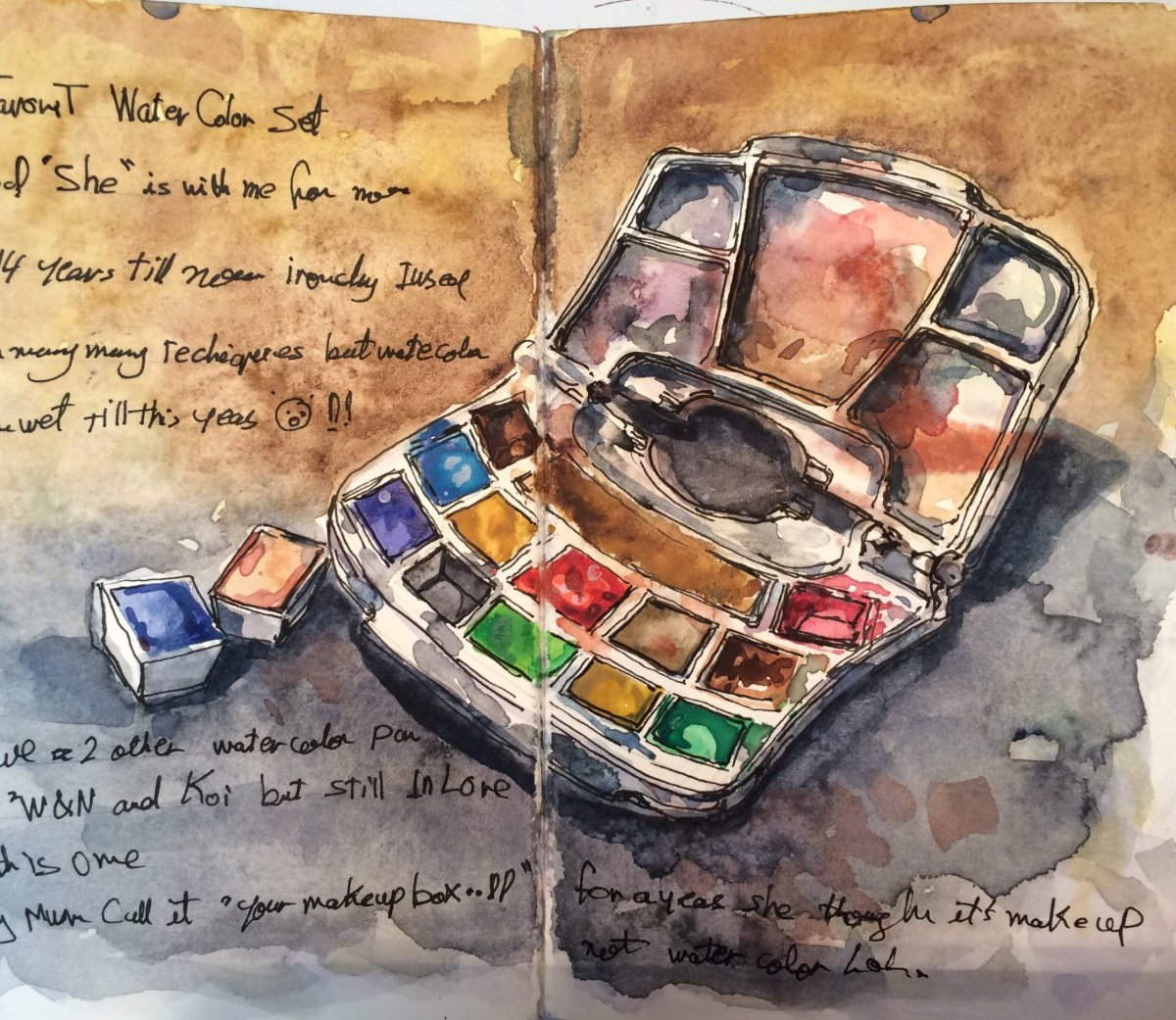 #WorldWatercolorGroup - Watercolor Sketch by Reham Moniem Ali in Egypt of watercolor palette - #doodlewash #urbansketchers #usk