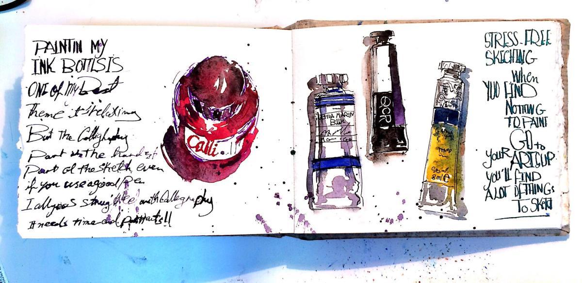 #WorldWatercolorGroup - Watercolor Sketch by Reham Moniem Ali in Egypt of art supplies - #doodlewash #urbansketchers #usk