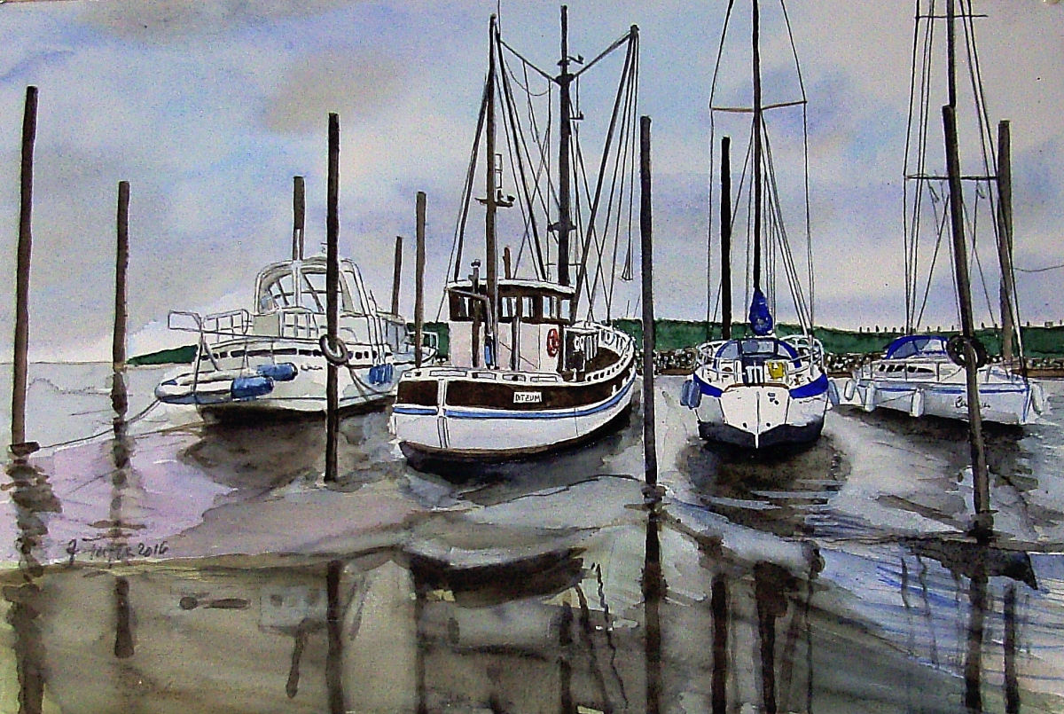 #WorldWatercolorGroup - Painting of boats by Joaquim Tusch - #doodlewash