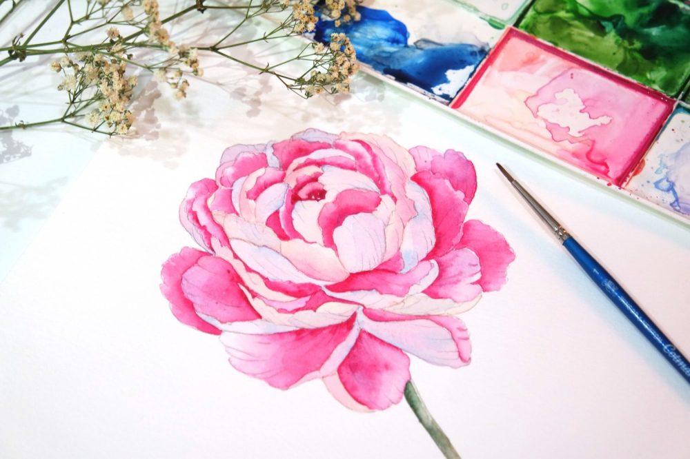 #WorldWatercolorGroup - Watercolor painting by Jieyan Ow - Pink Flower - #doodlewash