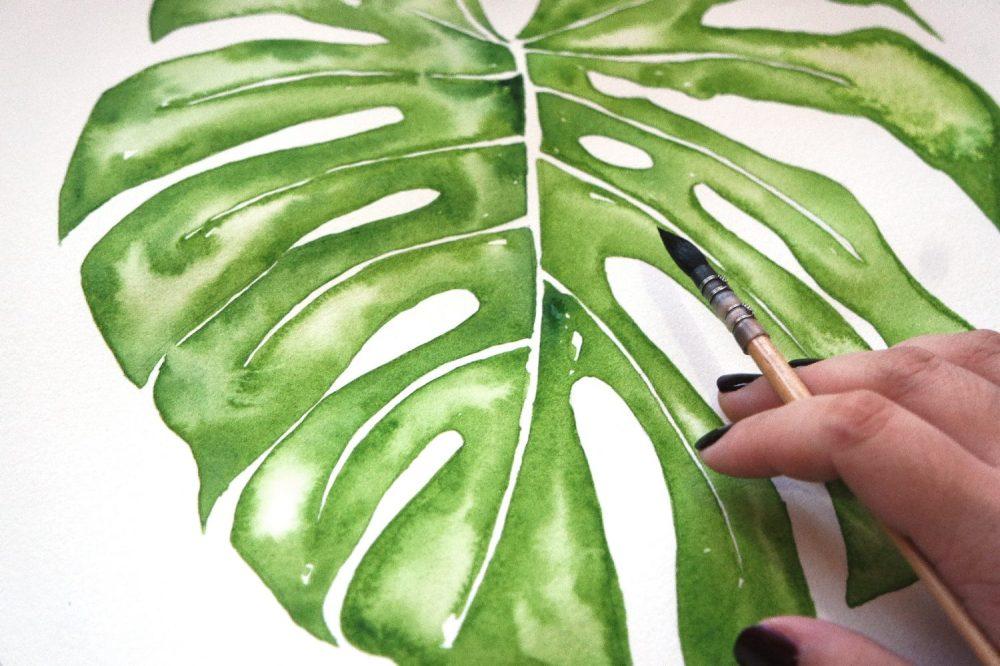 #WorldWatercolorGroup - Watercolor painting by Jieyan Ow - Leaf - #doodlewash