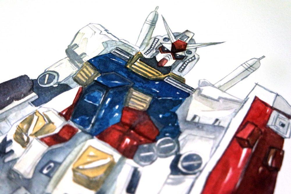 #WorldWatercolorGroup - Watercolor painting by Jieyan Ow - Gundam - #doodlewash