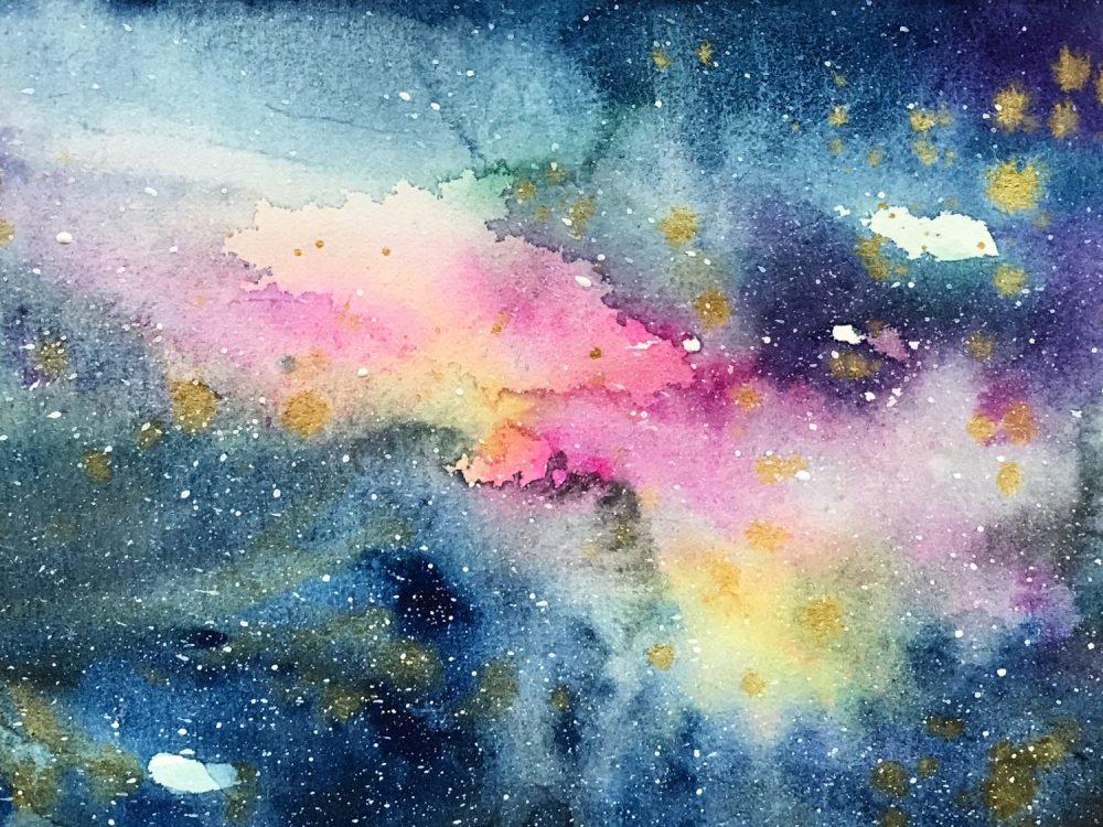 #WorldWatercolorGroup - Watercolor painting by Jieyan Ow - galaxy - #doodlewash