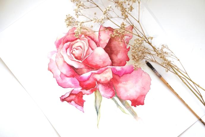 #WorldWatercolorGroup - Watercolor painting by Jieyan Ow - Rose - #doodlewash