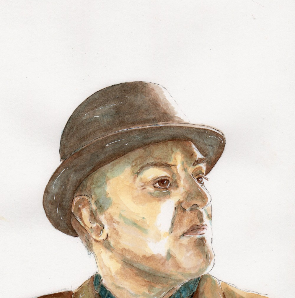 #WorldWatercolorGroup - Watercolor illustration by Patricia Mellett Brown - man wearing hat - #doodlewash