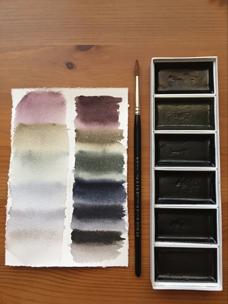 Boku-Undo E-Sumi Watercolor Paint 6 Colors Set watercolor swatch on Arches watercolor paper