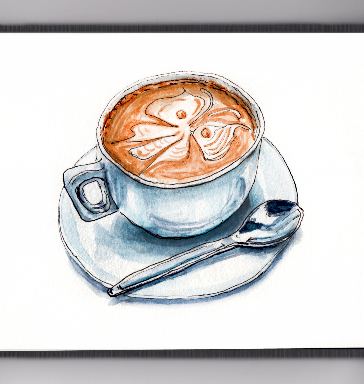 Day 1 - #WorldWatercolorGroup Cold Spring Day Cappuccino With Butterfly On Top And Spoon - #doodlewash