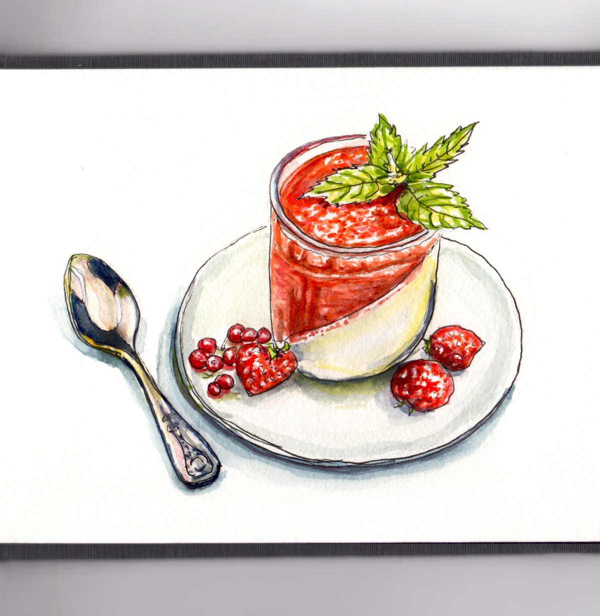 #WorldWatercolorGroup - Strawberry Dessert With Spoon Watercolor - #doodlewash