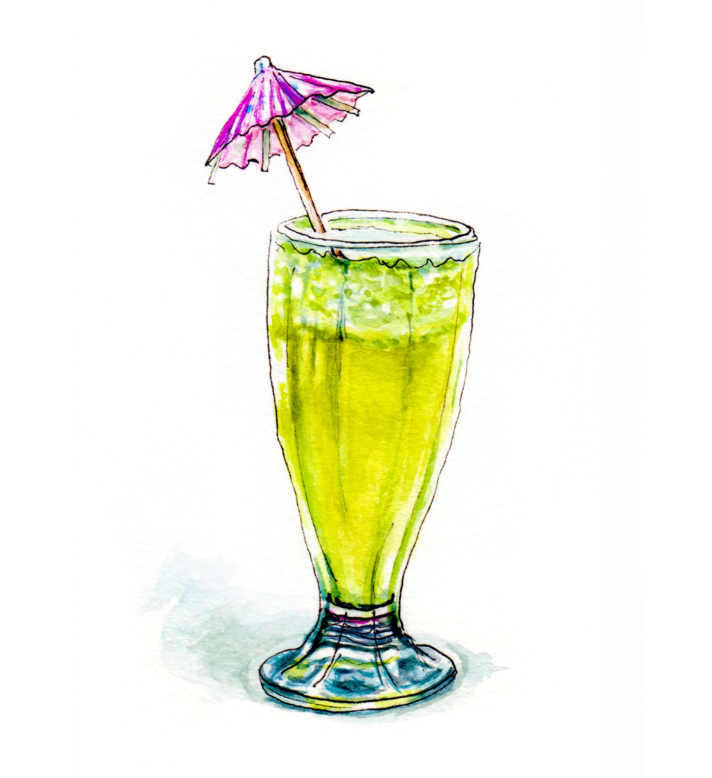 Day 3 - #WorldWatercolorGroup - Dreaming of the Sun - Tropical Frozen Drink with Umbrella - #doodlewash