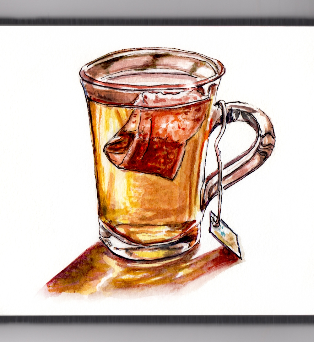 Day 7 - #WorldWatercolorGroup - Reading Tea Leaves Tea Bag in Glass Mug Watercolor - #doodlewash