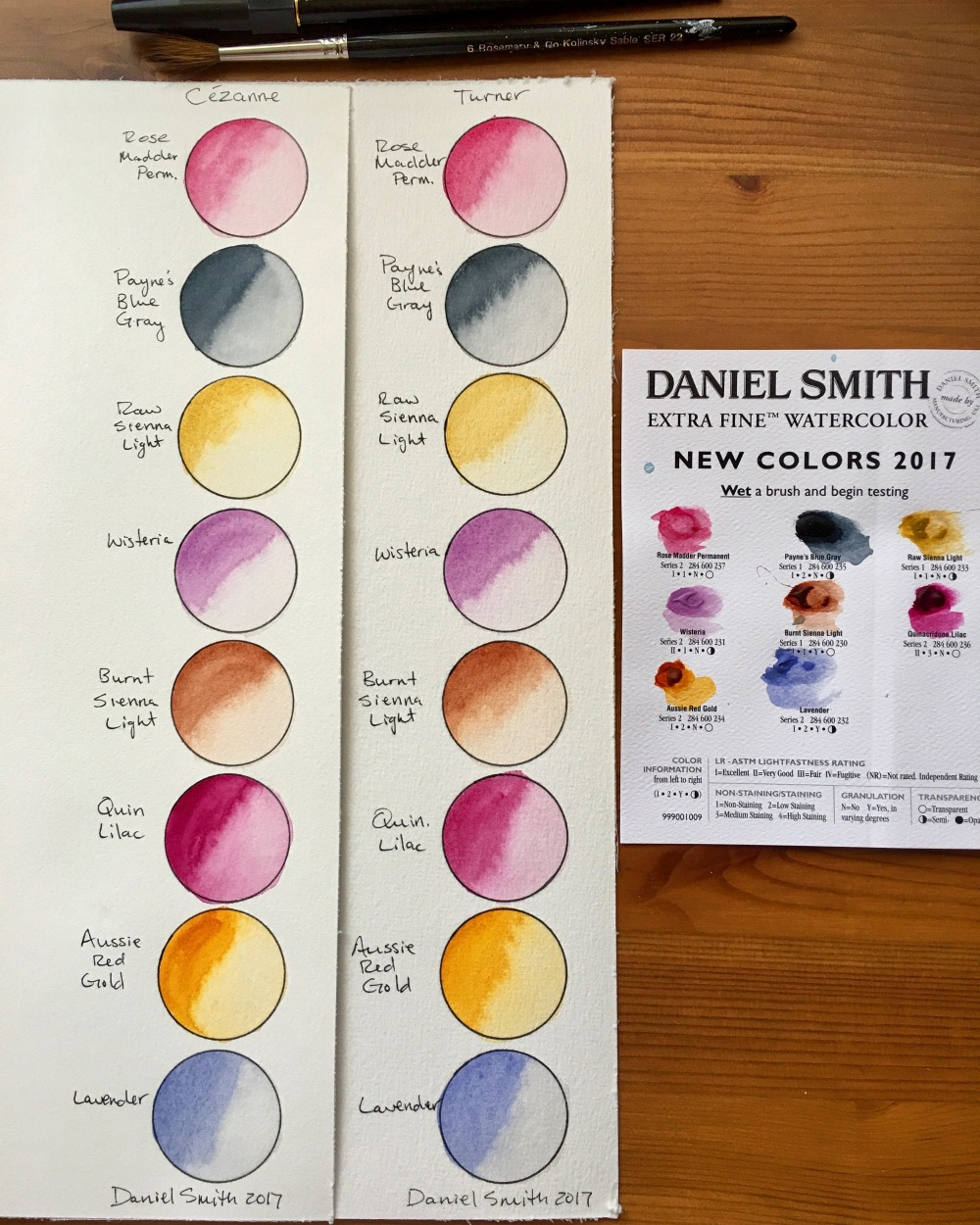 Daniel Smith 2017 watercolors on Hahnemuhle cezanne and turner watercolor paper