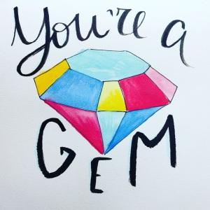 #WorldWatercolorGroup - Watercolor sketch by Volta Voloshin-Smith of Color Snack - You're A Gem - #doodlewash