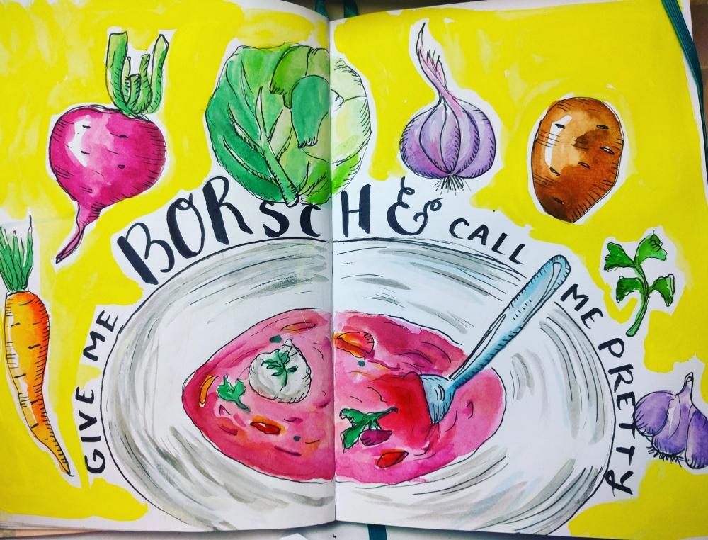 #WorldWatercolorGroup - Watercolor sketch by Volta Voloshin-Smith of Color Snack - Give Me Borsch - #doodlewash
