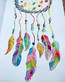 #WorldWatercolorGroup - Watercolor sketch by Volta Voloshin-Smith of Color Snack - Feathers - #doodlewash