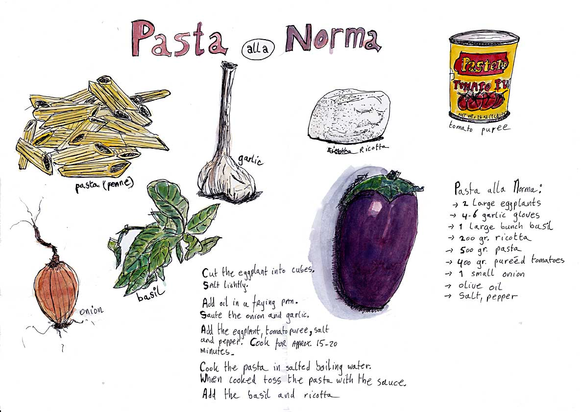 #WorldWatercolorGroup - Watercolor by Tim Soekkha of Pasta alla Norma - #doodlewash
