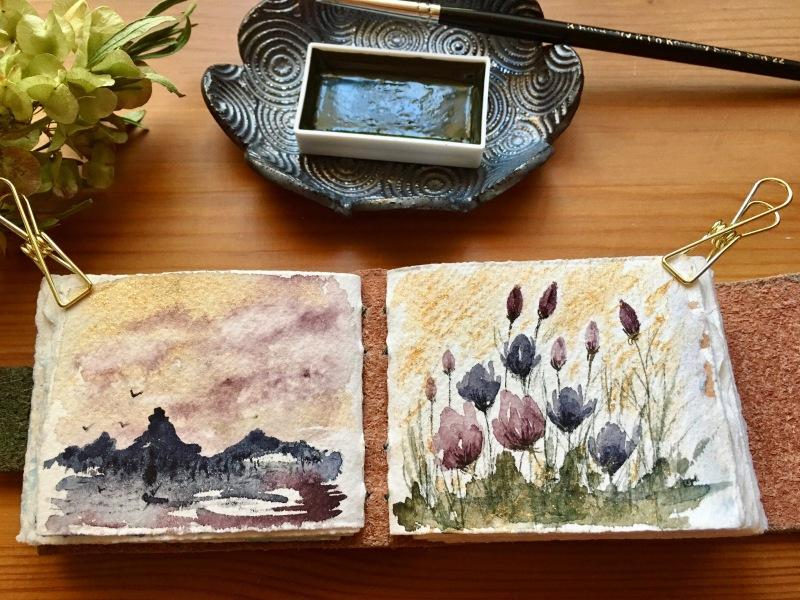 Boku-Undo E-Sumi Watercolor Paint 6 Colors Set watercolour box watercolor painting by jessica seacrest on arches 140lb watercolor paper, the speckledKat
