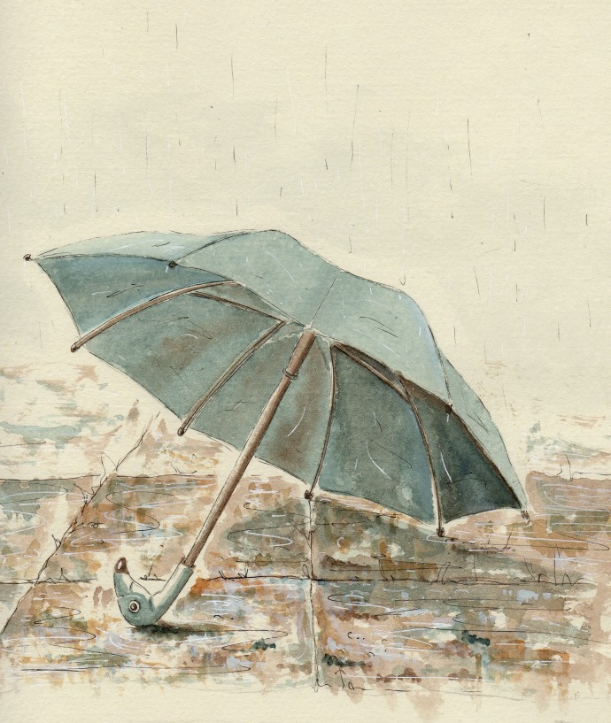 #WorldWatercolorGroup - Watercolor illustration by Patricia Mellett Brown - umbrella - #doodlewash