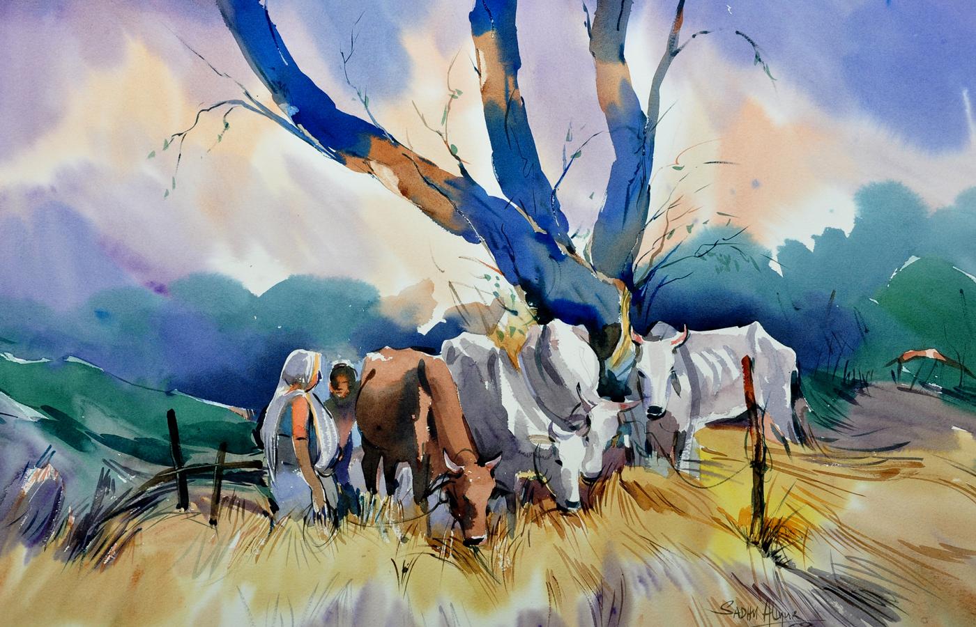 #WorldWatercolorGroup - Watercolor painting by Sadhu Aliyur - cows - #doodlewash