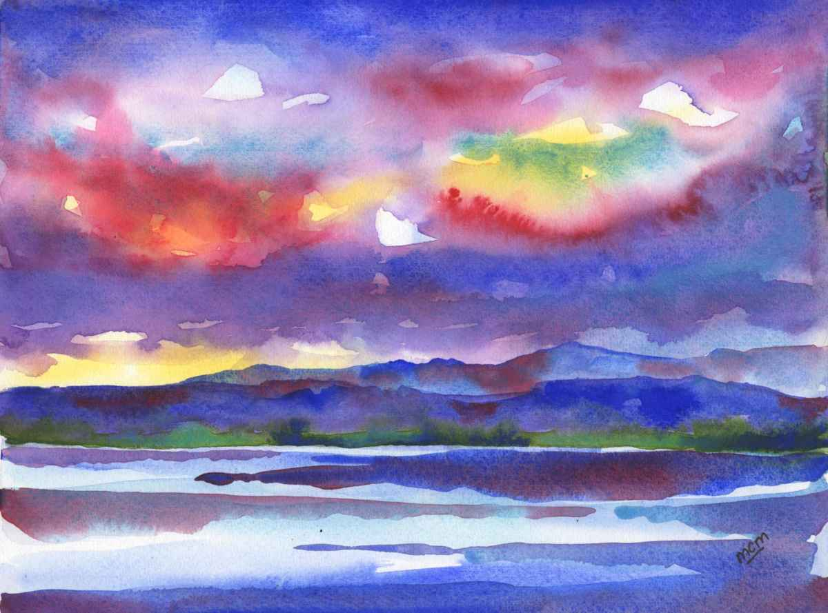 #WorldWatercolorGroup - Watercolor by Cristina Mazzoni - colorful sky - #doodlewash