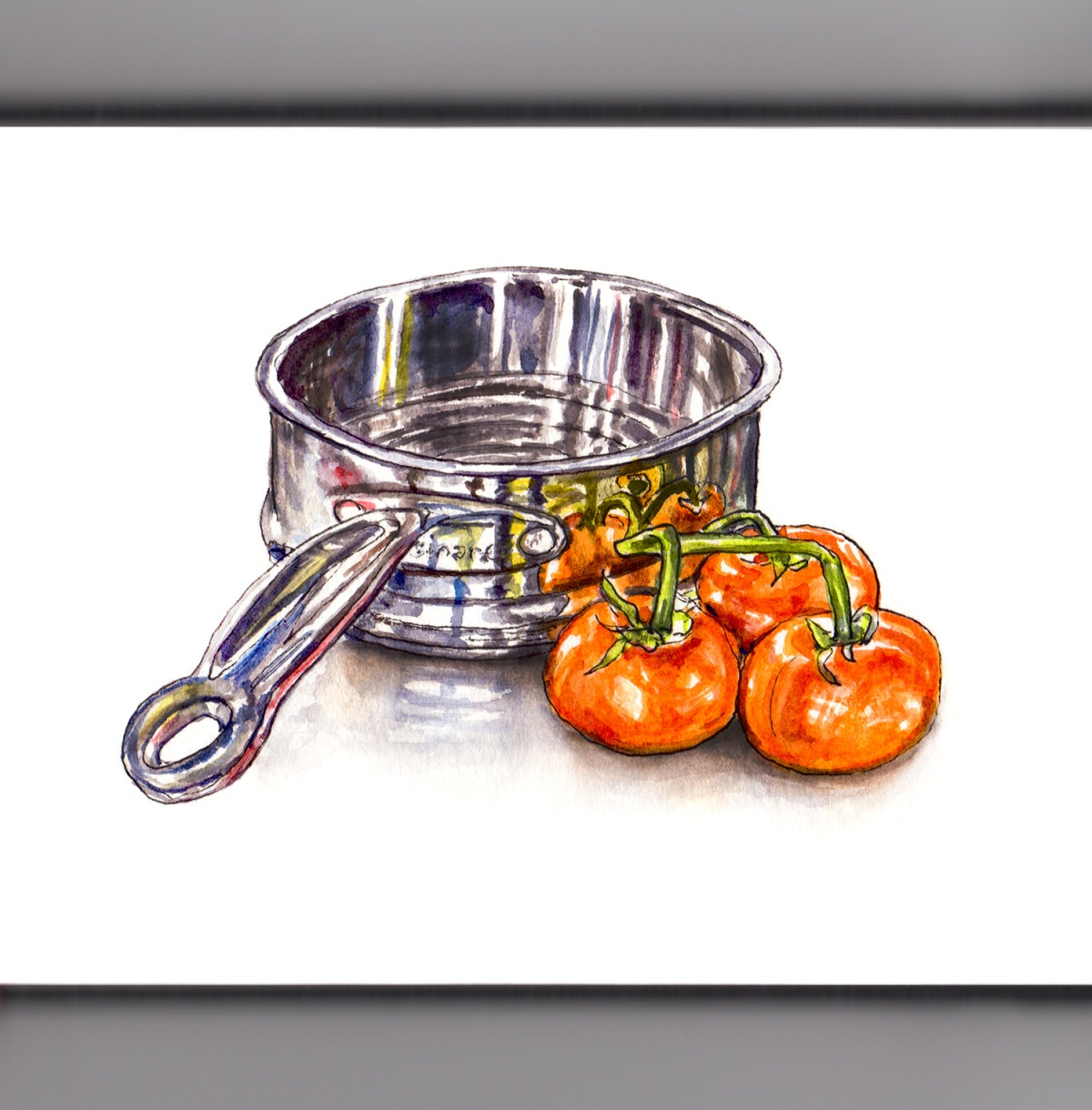 Day 7 - #WorldWatercolorGroup - Everything Sparkles - Metal Colander With Tomatoes Watercolor - #doodlewash