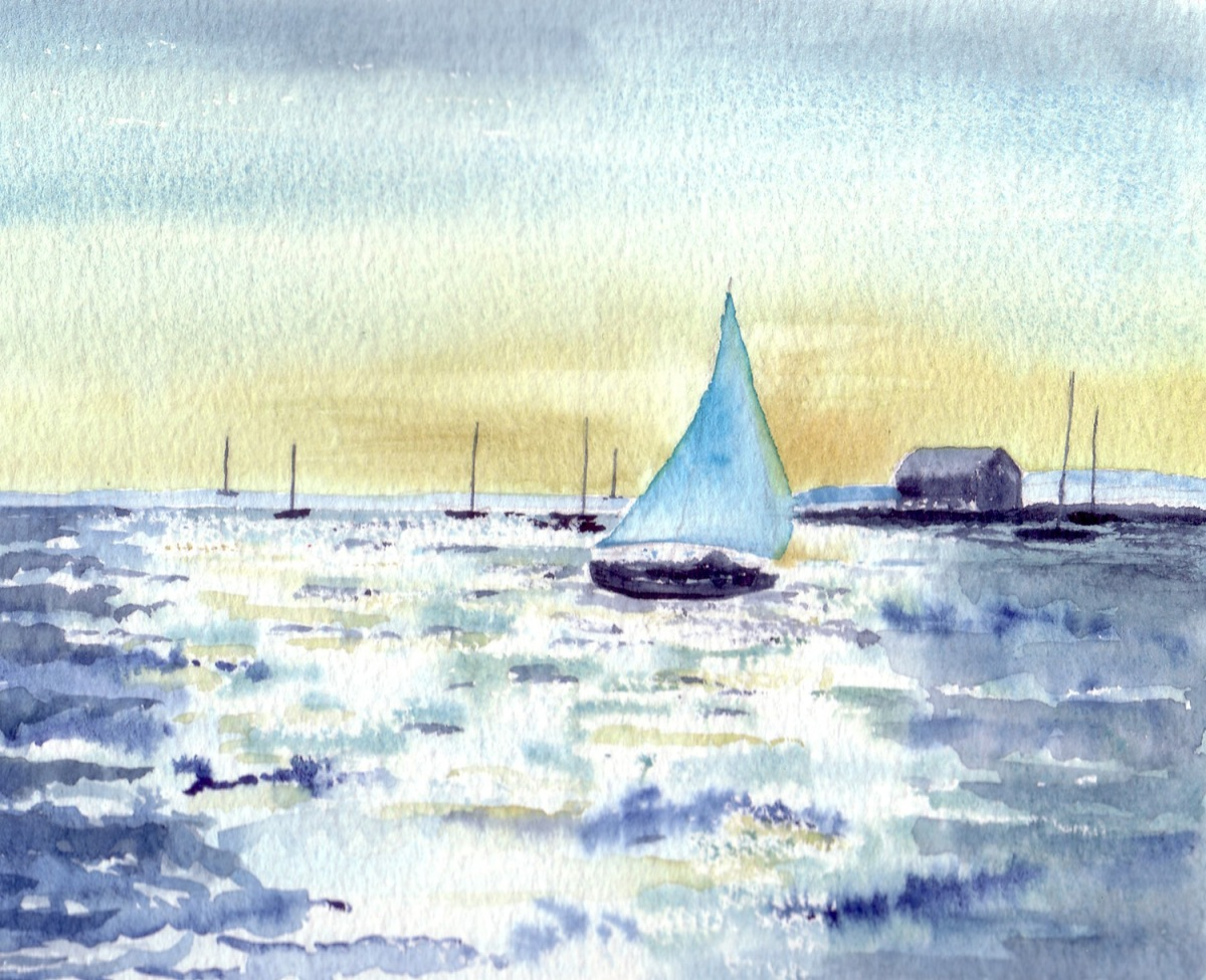 #WorldWatercolorGroup - Watercolor by Jan Purves - Shimmering Sea - #doodlewash