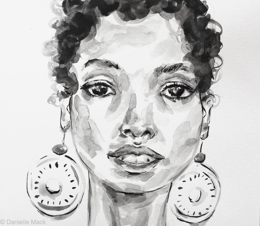 #WorldWatercolorGroup - Watercolor painting by Danielle Mack - statement earrings - #doodlewash