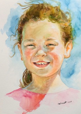 #WorldWatercolorGroup - Watercolor by Naila Hazell - Sunny Portrait of Young Girl - #doodlewash