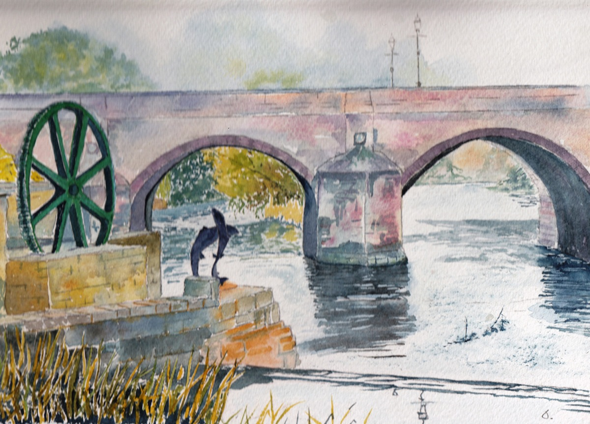#WorldWatercolorGroup - Watercolor by Jan Purves - Wetherby Bridge - #doodlewash