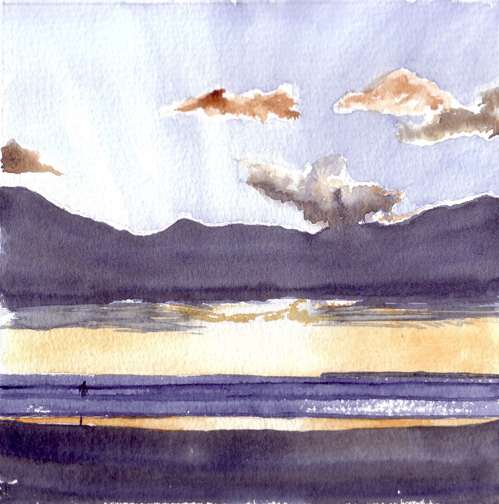 #WorldWatercolorGroup - Watercolor by Jan Purves - Woolacombe Sunset - #doodlewash